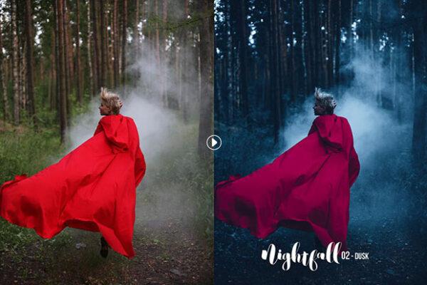 30 پریست لایتروم و کمرا راو تم رنگی شبانگاهی Nightfall Lightroom And ACR Presets