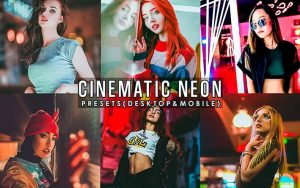 ۱۲ پریست لایت روم پرتره سینمایی و پریست کمرا راو فتوشاپ Cinematic Neon Portrait Presets