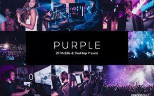 ۲۰ پریست لایت روم و پریست کمرا راو و LUT رنگی تم ارغوانی بنفش Purple Lightroom Presets & LUTs
