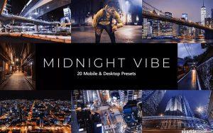 ۲۰ پریست لایت روم و پریست Camera Raw و لات رنگی تم شب Midnight Vibes LR Presets