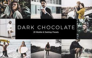 ۲۰ پریست لایت روم و پریست کمرا راو و لات رنگی شکلاتی تیره Dark Chocolate LR Presets