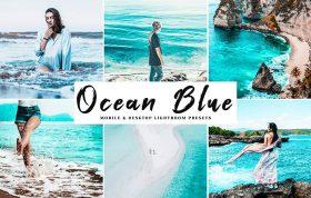 34 پریست لایت روم و کمرا راو و اکشن کمرا راو فتوشاپ اقیانوس آبی Ocean Blue Lightroom Presets Pack