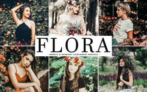 34 پریست لایت روم پرتره و کمرا راو و اکشن کمرا راو فتوشاپ دختر زیبا Flora Lightroom Presets
