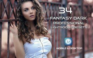 34 پریست لایت روم پرتره و کمرا راو و اکشن کمرا راو فتوشاپ Fantasy Dark Professional Lightroom Presets