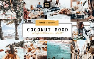 10 پریست لایت روم حرفه ای تم رنگی نارگیل Coconut Lightroom Presets Pack