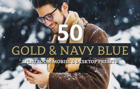 100 پریست لایت روم رنگی تم طلایی و سرمه ای Gold & Navy Lightroom Presets
