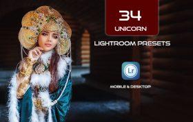 34 پریست لایت روم و Camera Raw و اکشن کمرا راو فتوشاپ تم تک شاخ Unicorn Lightroom Presets