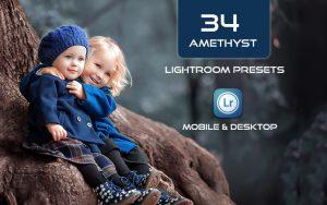 34 پریست لایت روم پرتره و Camera Raw و اکشن کمرا راو فتوشاپ تم ارغوانی و بنفش Amethyst Lightroom Presets