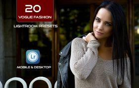 20 پریست لایت روم و پریست و اکشن کمرا راو فتوشاپ Vogue Fashion Lightroom Presets