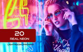 20 پریست پرتره لایت روم فوق حرفه ای نور نئون Real Neon Portrait Lightroom Presets