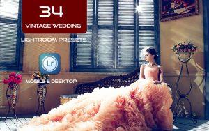 34 پریست لایت روم عروسی و Camera Raw و اکشن کمرا فتوشاپ Vintage Wedding Lightroom Presets