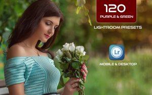 120 پریست لایت روم و پریست کمرا راو فتوشاپ و لات رنگی تم سبز Purple Green Lightroom Presets