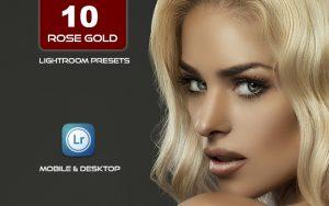 10 پریست لایت روم حرفه ای تم رنگی رز طلایی Rose Gold Lightroom Presets Bundle