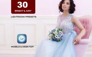 30 پریست لایت روم عروسی و پریست کمرا راو فتوشاپ Bright Airy Lightroom Presets