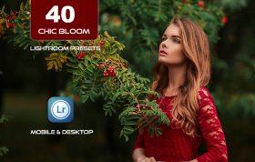 40 پریست لایت روم و کمرا راو و اکشن کمرا راو فتوشاپ تم مد قرمز Chic Bloom Lightroom Presets