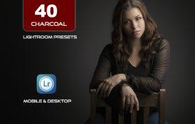 40 پریست لایت روم پرتره و کمرا راو و اکشن کمرا راو فتوشاپ تم زغالی Charcoal Lightroom Presets