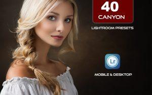 40 پریست لایت روم پرتره و کمرا راو و اکشن کمرا راو فتوشاپ تم شکلاتی Canyon Lightroom Presets